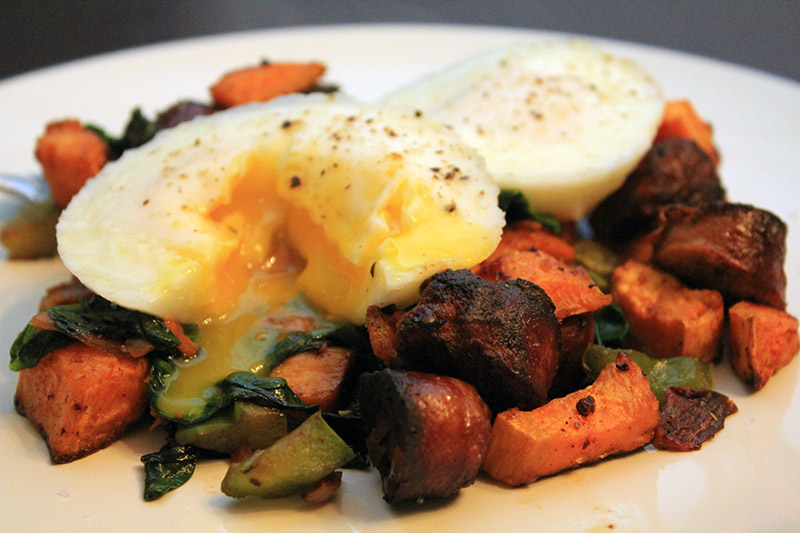Spicy Chorizo Yam Hash with Poached Eggs On Top