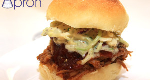 Honey Garlic Pulled Pork Sliders on Potato Rolls with Coleslaw