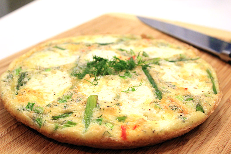 Use a rubber spatula to loosen the frittata around the edges and ...