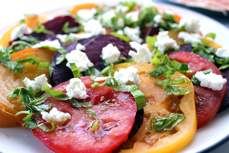 Tomato and Beet Salad with Goat Cheese and Fresh Basil
