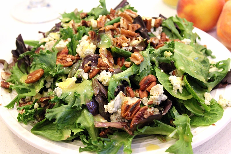 Summer Greens with Blue Cheese and Fresh Peach Vinaigrette